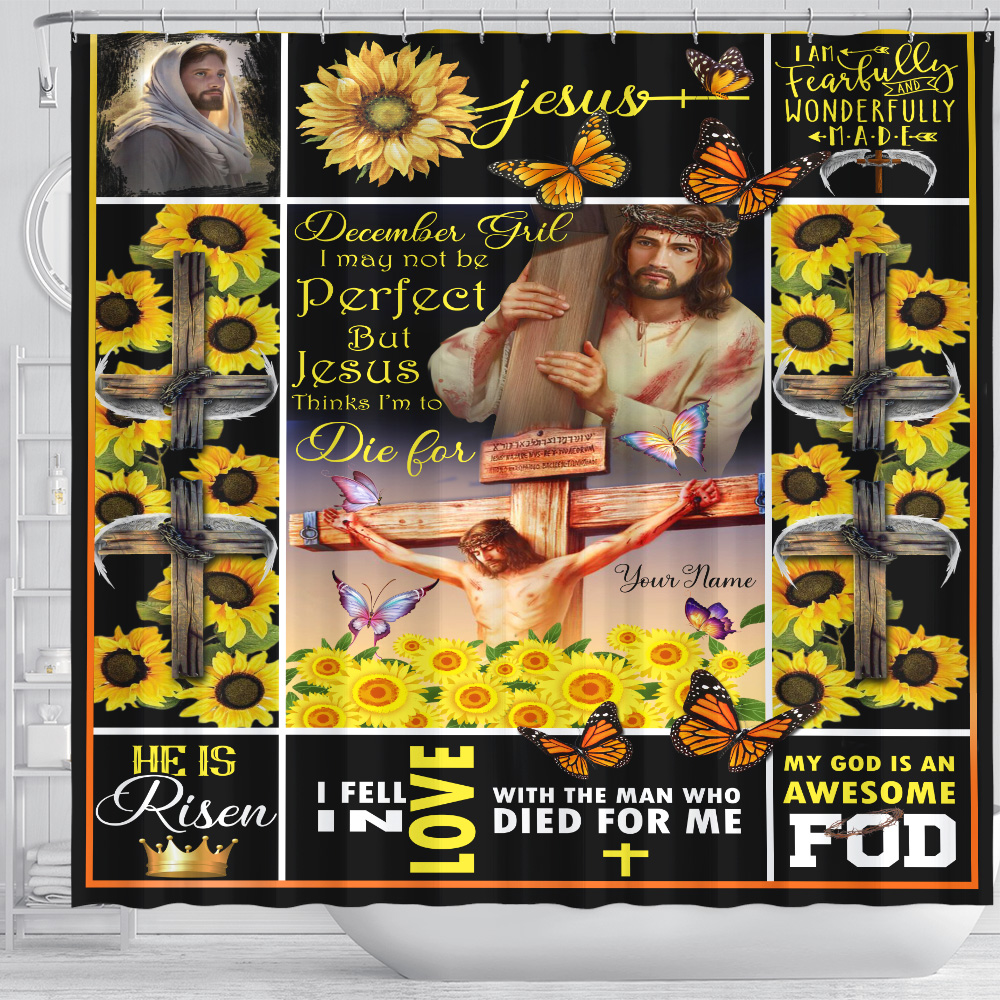 Personalized Shower Curtain December Girl I May Not Be Perfect But Jesus Thinks I'm To Die For Pattern 1 Set 12 Hooks Decorative Bath Modern Bathroom Accessories Machine Washable