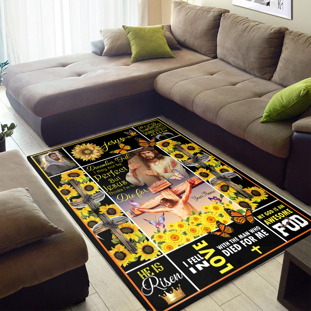 Personalized December Girl I May Not Be Perfect But Jesus Thinks I'm To Die For Pattern 1 Vintage Area Rug Anti-Skid Floor Carpet For Living Room Dinning Room Bedroom Office