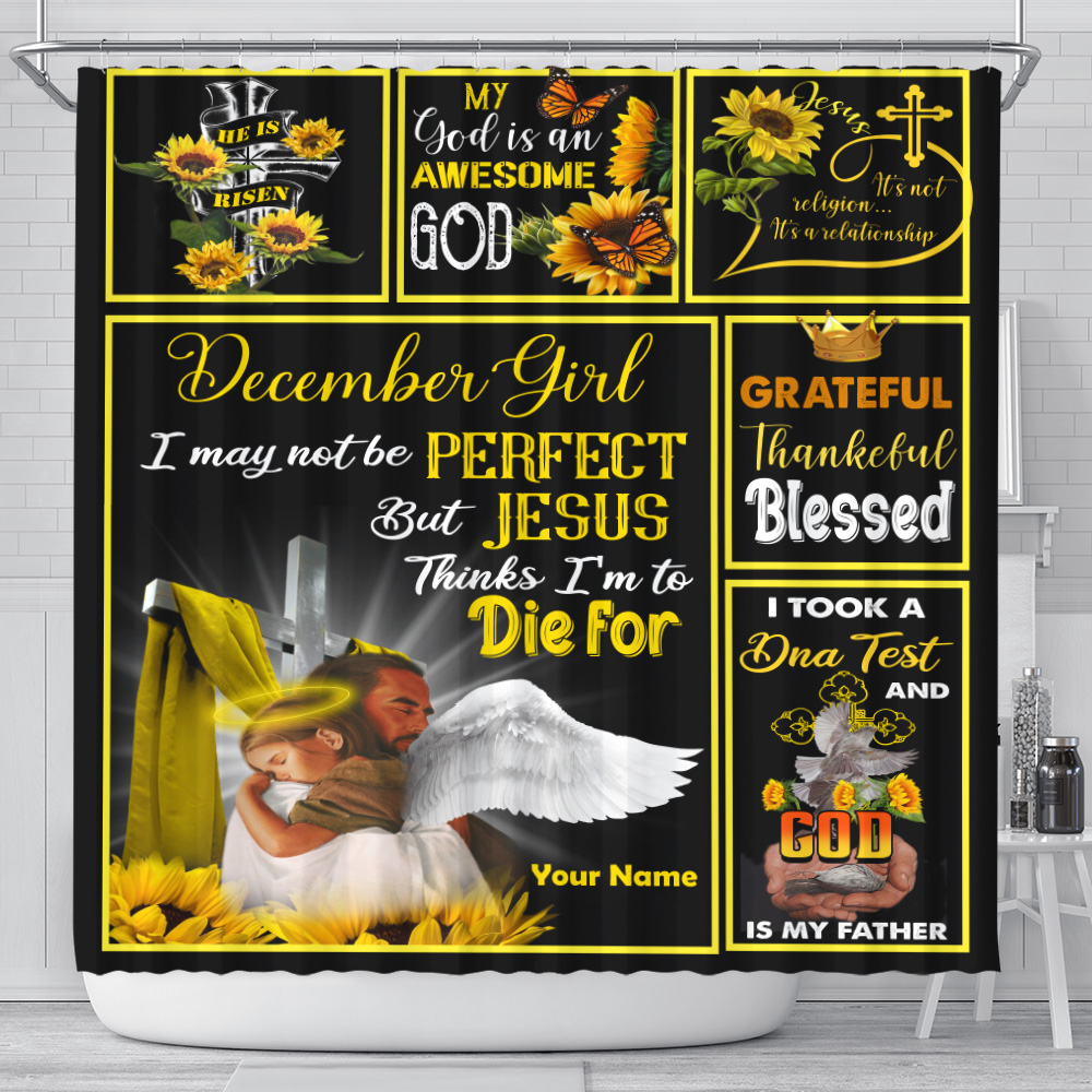 Personalized Shower Curtain December Girl I May Not Be Perfect But Jesus Thinks I'm To Die For Pattern 2 Set 12 Hooks Decorative Bath Modern Bathroom Accessories Machine Washable