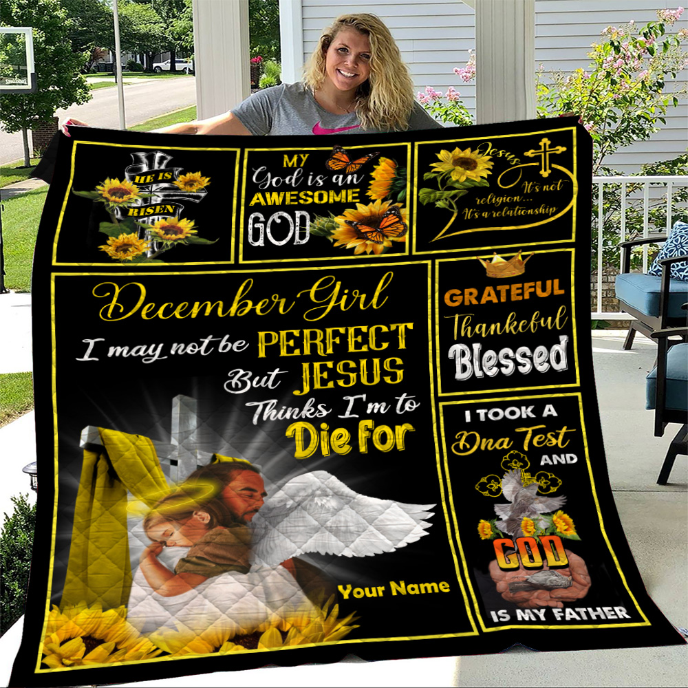 Personalized Quilt Throw Blanket December Girl I May Not Be Perfect But Jesus Thinks I'm To Die For Pattern 2 Lightweight Super Soft Cozy For Decorative Couch Sofa Bed