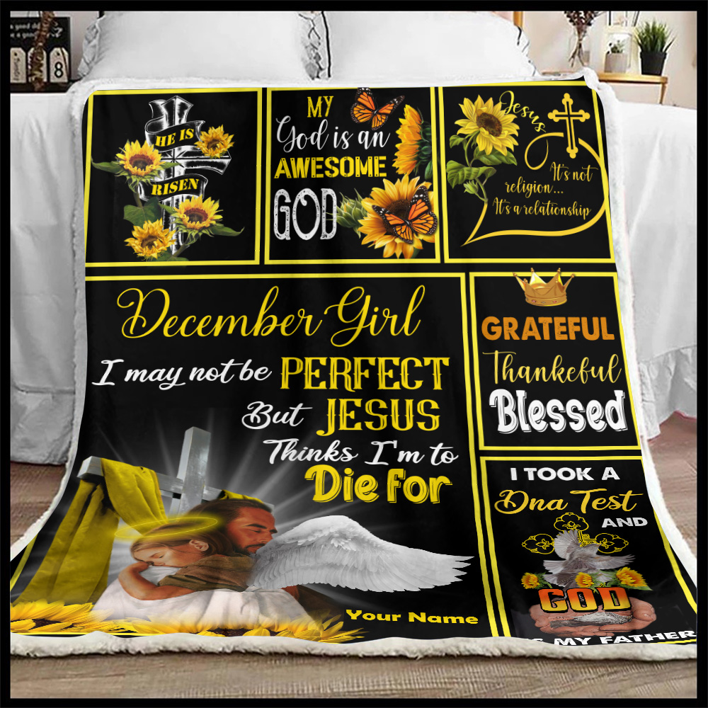 Personalized Fleece Throw Blanket December Girl I May Not Be Perfect But Jesus Thinks I'm To Die For Pattern 2 Lightweight Super Soft Cozy For Decorative Couch Sofa Bed
