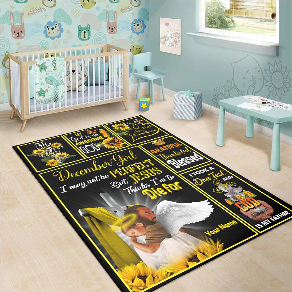 Personalized December Girl I May Not Be Perfect But Jesus Thinks I'm To Die For Pattern 2 Vintage Area Rug Anti-Skid Floor Carpet For Living Room Dinning Room Bedroom Office