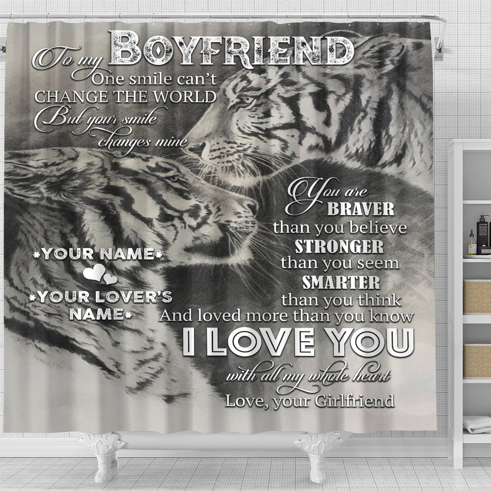 Personalized Lovely Shower Curtain To My Boyfriend I Love You More Than You Know Pattern 1 Set 12 Hooks Decorative Bath Modern Bathroom Accessories Machine Washable
