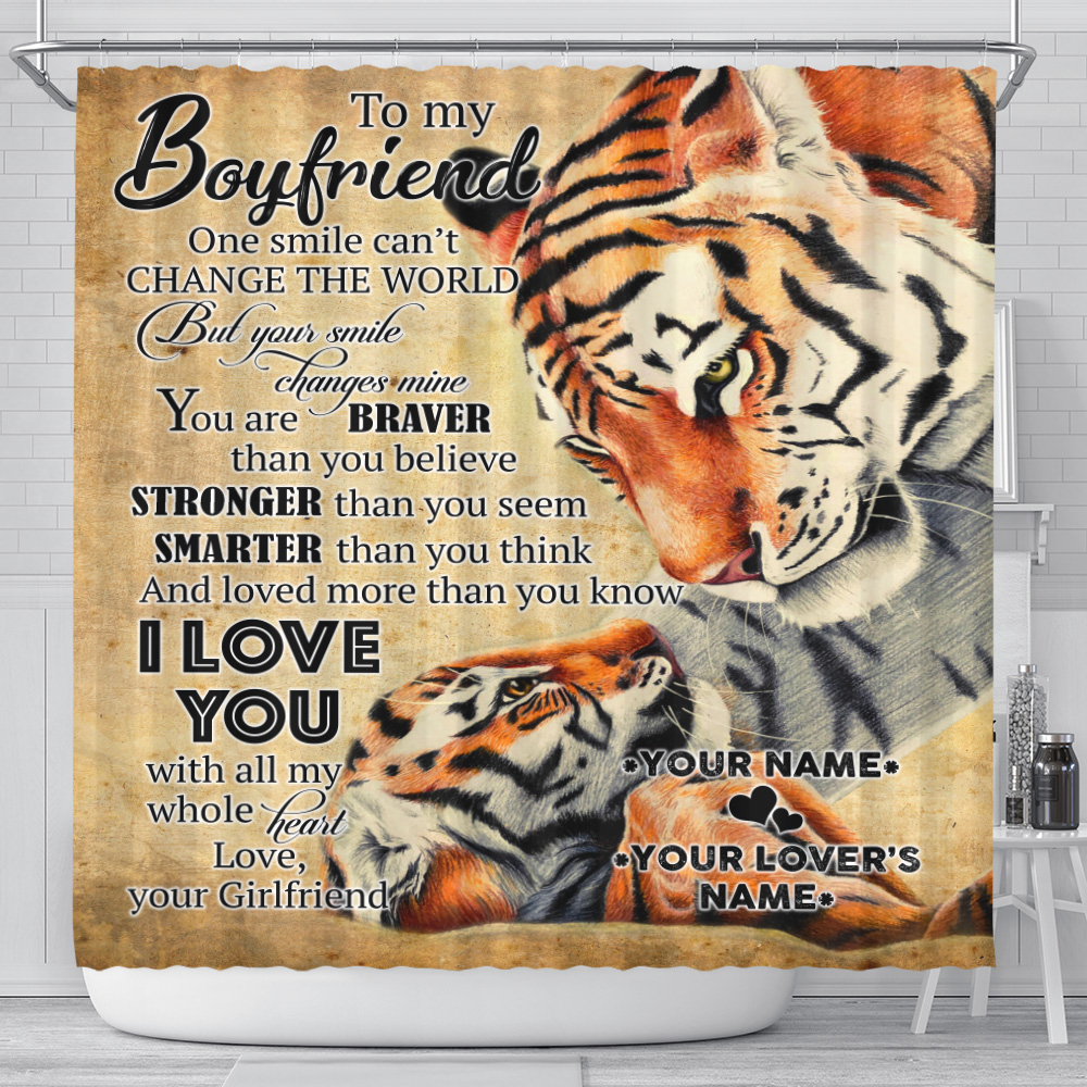Personalized Lovely Shower Curtain To My Boyfriend I Love You More Than You Know Pattern 2 Set 12 Hooks Decorative Bath Modern Bathroom Accessories Machine Washable
