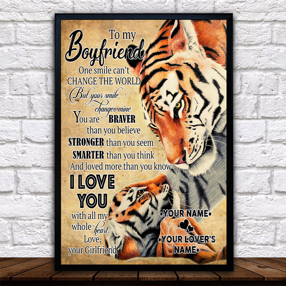 Personalized Lovely Wall Art Poster To My Boyfriend I Love You More Than You Know Pattern 2 Prints Decoracion Wall Art Picture Living Room Wall