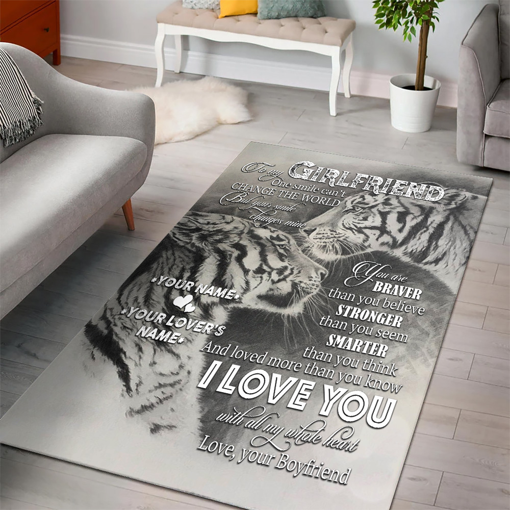 Personalized Lovely To My Girlfriend I Love You More Than You Know Pattern 1 Vintage Area Rug Anti-Skid Floor Carpet For Living Room Dinning Room Bedroom Office