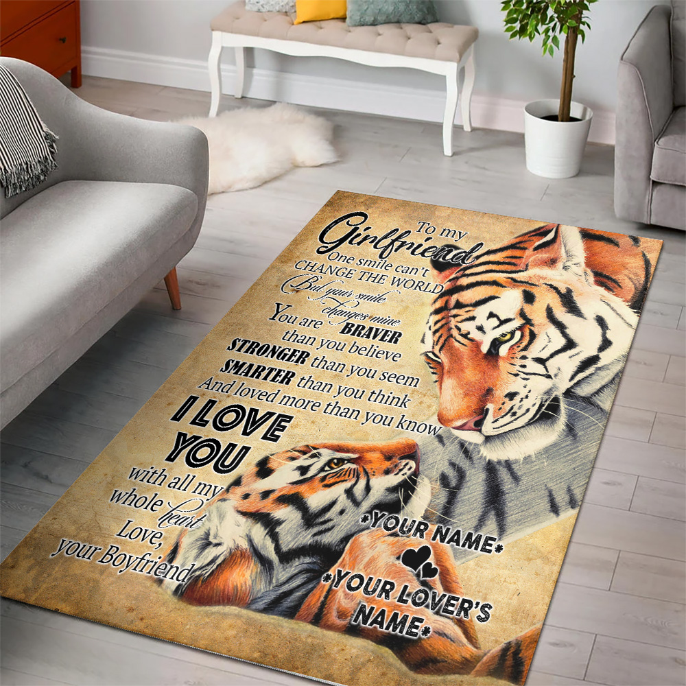 Personalized Lovely To My Girlfriend I Love You More Than You Know Pattern 2 Vintage Area Rug Anti-Skid Floor Carpet For Living Room Dinning Room Bedroom Office