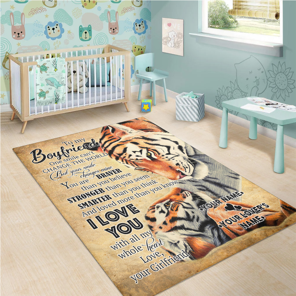 Personalized Lovely To My Boyfriend I Love You More Than You Know Pattern 2 Vintage Area Rug Anti-Skid Floor Carpet For Living Room Dinning Room Bedroom Office