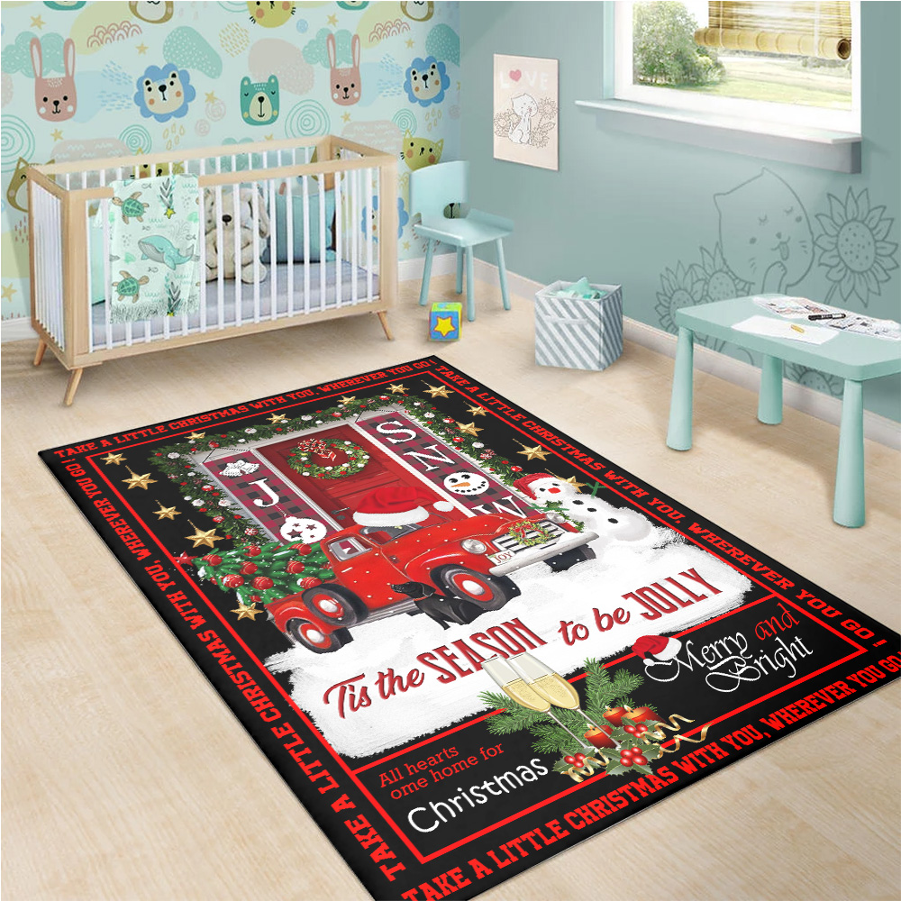 Personalized 'Tis The Season To Be Jolly Pattern 1 Vintage Area Rug Anti-Skid Floor Carpet For Living Room Dinning Room Bedroom Office