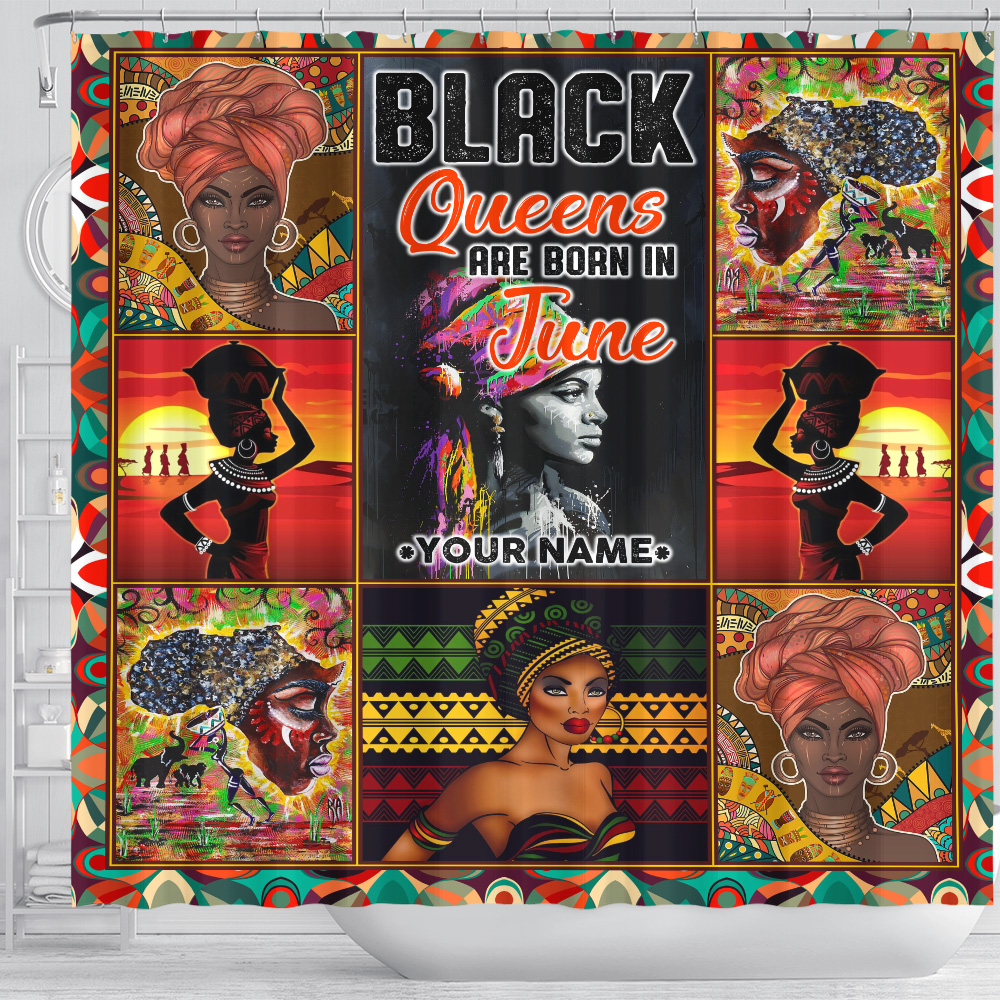 Personalized Shower Curtain Black Queens Are Born In June Pattern 2 Set 12 Hooks Decorative Bath Modern Bathroom Accessories Machine Washable
