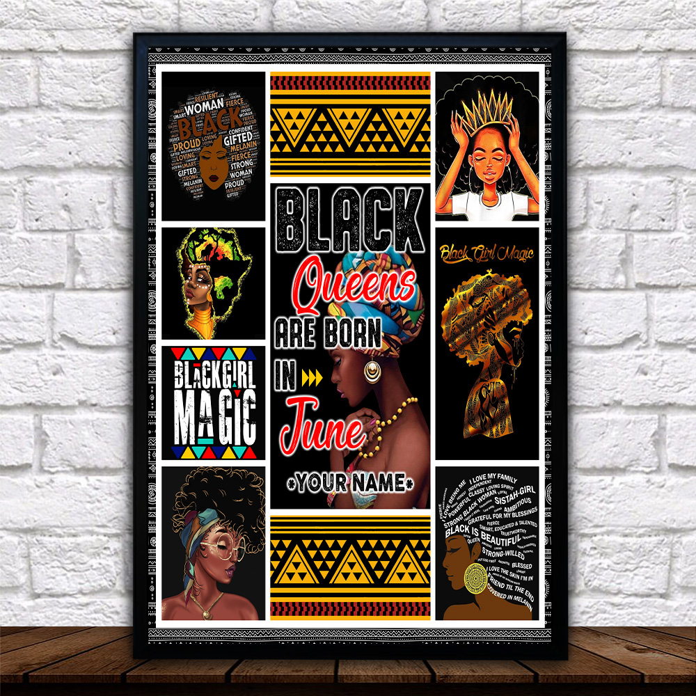 Personalized Wall Art Poster Black Queens Are Born In June Pattern 1 Prints Decoracion Wall Art Picture Living Room Wall