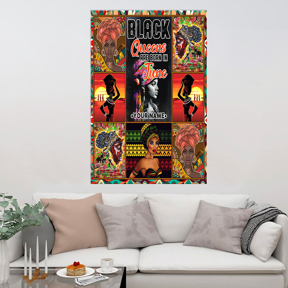 Personalized Wall Art Poster Black Queens Are Born In June Pattern 2 Prints Decoracion Wall Art Picture Living Room Wall