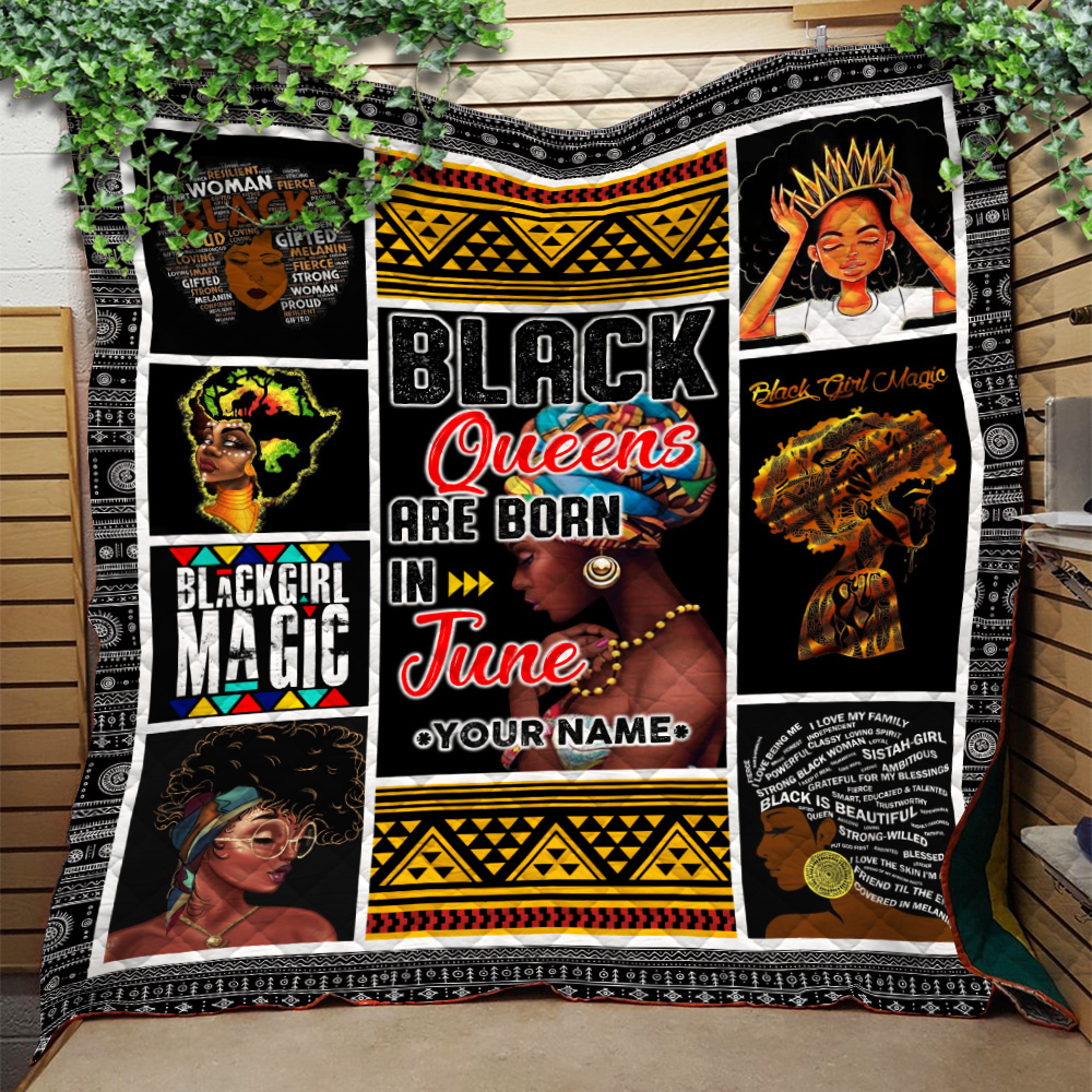 Personalized Quilt Throw Blanket Black Queens Are Born In June Pattern 1 Lightweight Super Soft Cozy For Decorative Couch Sofa Bed