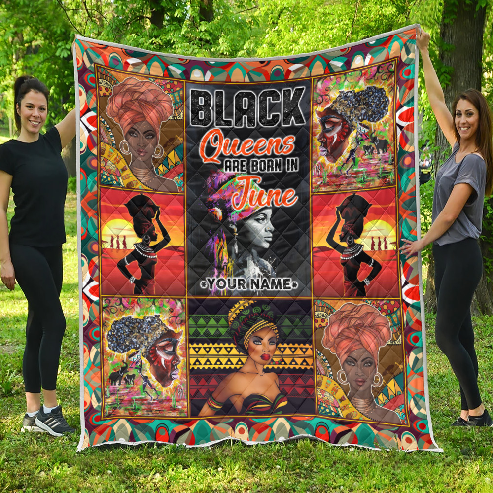 Personalized Quilt Throw Blanket Black Queens Are Born In June Pattern 2 Lightweight Super Soft Cozy For Decorative Couch Sofa Bed