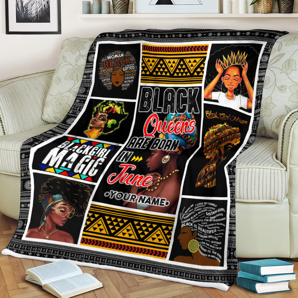 Personalized Fleece Throw Blanket Black Queens Are Born In June Pattern 1 Lightweight Super Soft Cozy For Decorative Couch Sofa Bed