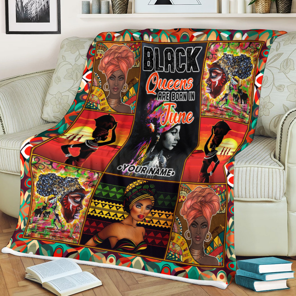 Personalized Fleece Throw Blanket Black Queens Are Born In June Pattern 2 Lightweight Super Soft Cozy For Decorative Couch Sofa Bed