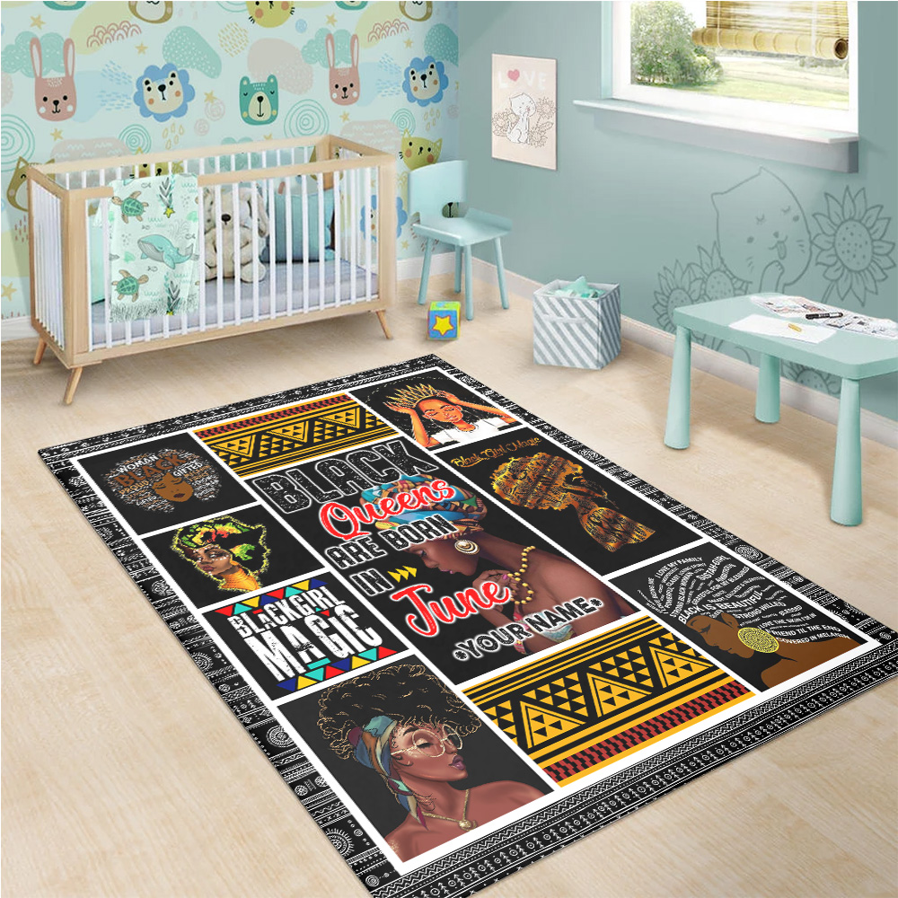 Personalized Black Queens Are Born In June Pattern 1 Vintage Area Rug Anti-Skid Floor Carpet For Living Room Dinning Room Bedroom Office
