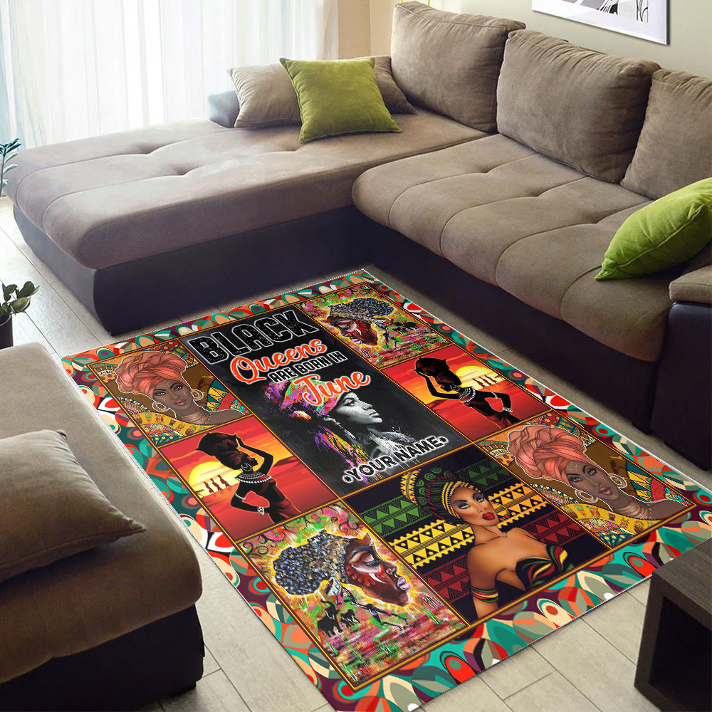 Personalized Black Queens Are Born In June Pattern 2 Vintage Area Rug Anti-Skid Floor Carpet For Living Room Dinning Room Bedroom Office
