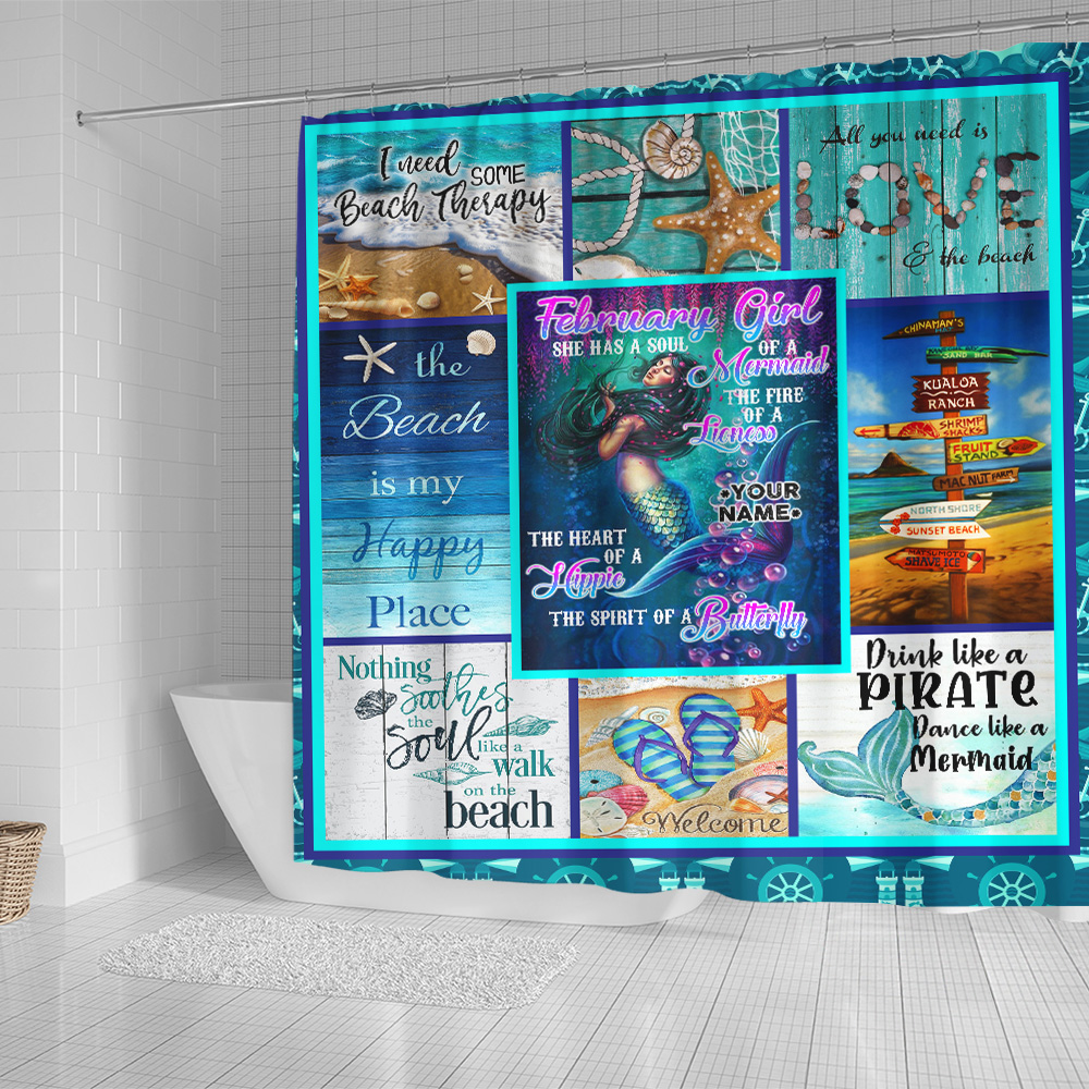 Personalized Shower Curtain February Girl A Soul Of A Mermaid Pattern 1 Set 12 Hooks Decorative Bath Modern Bathroom Accessories Machine Washable