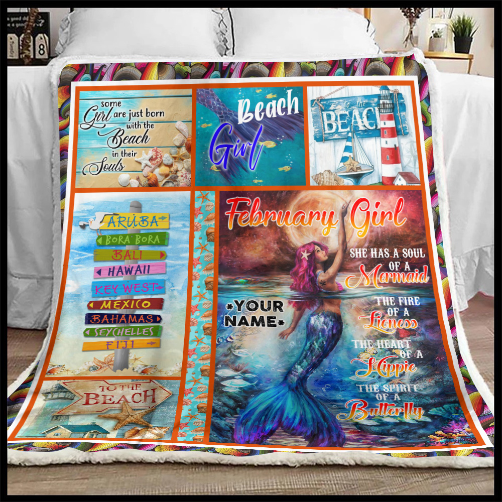 Personalized Fleece Throw Blanket February Girl A Soul Of A Mermaid Pattern 2 Lightweight Super Soft Cozy For Decorative Couch Sofa Bed