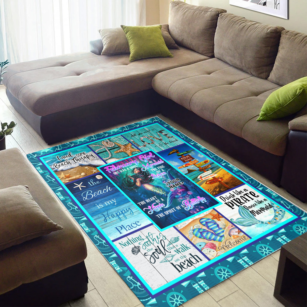 Personalized February Girl A Soul Of A Mermaid Pattern 1 Vintage Area Rug Anti-Skid Floor Carpet For Living Room Dinning Room Bedroom Office