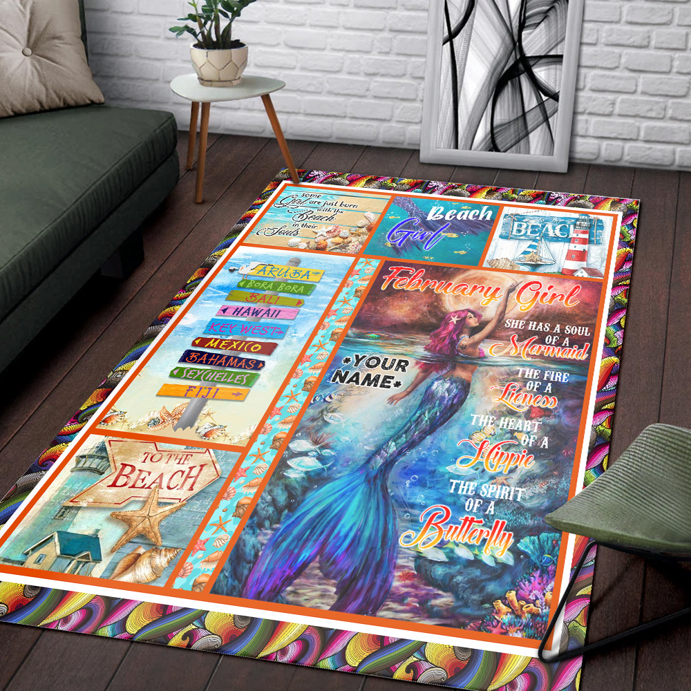 Personalized February Girl A Soul Of A Mermaid Pattern 2 Vintage Area Rug Anti-Skid Floor Carpet For Living Room Dinning Room Bedroom Office