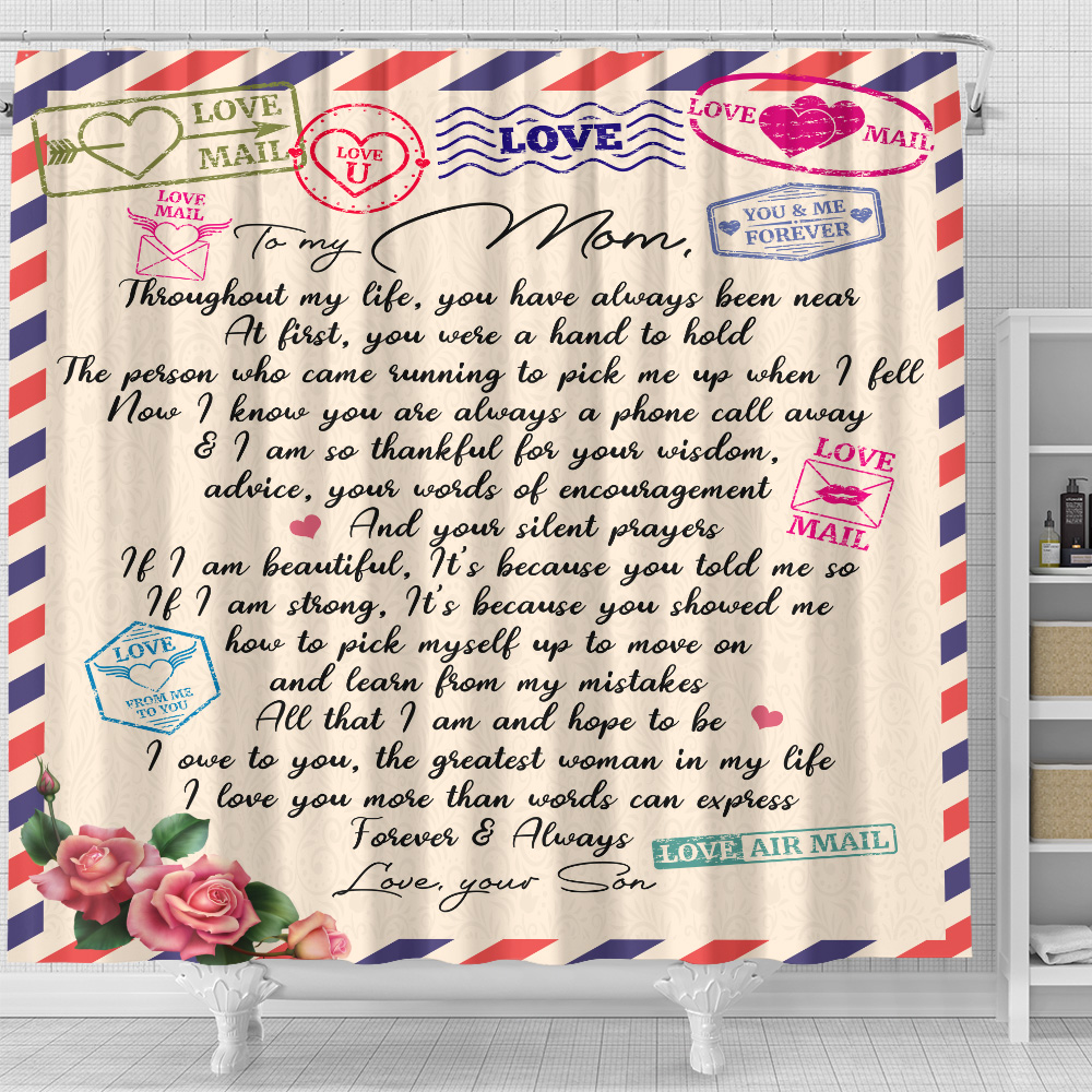 Personalized Lovely Shower Curtain To My Mom I Owe To You The Greatest Woman In My Life Pattern 2 Set 12 Hooks Decorative Bath Modern Bathroom Accessories Machine Washable