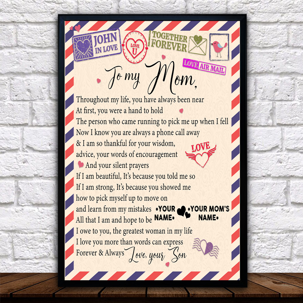 Personalized Lovely Wall Art Poster To My Mom I Owe To You The Greatest Woman In My Life Pattern 1 Prints Decoracion Wall Art Picture Living Room Wall
