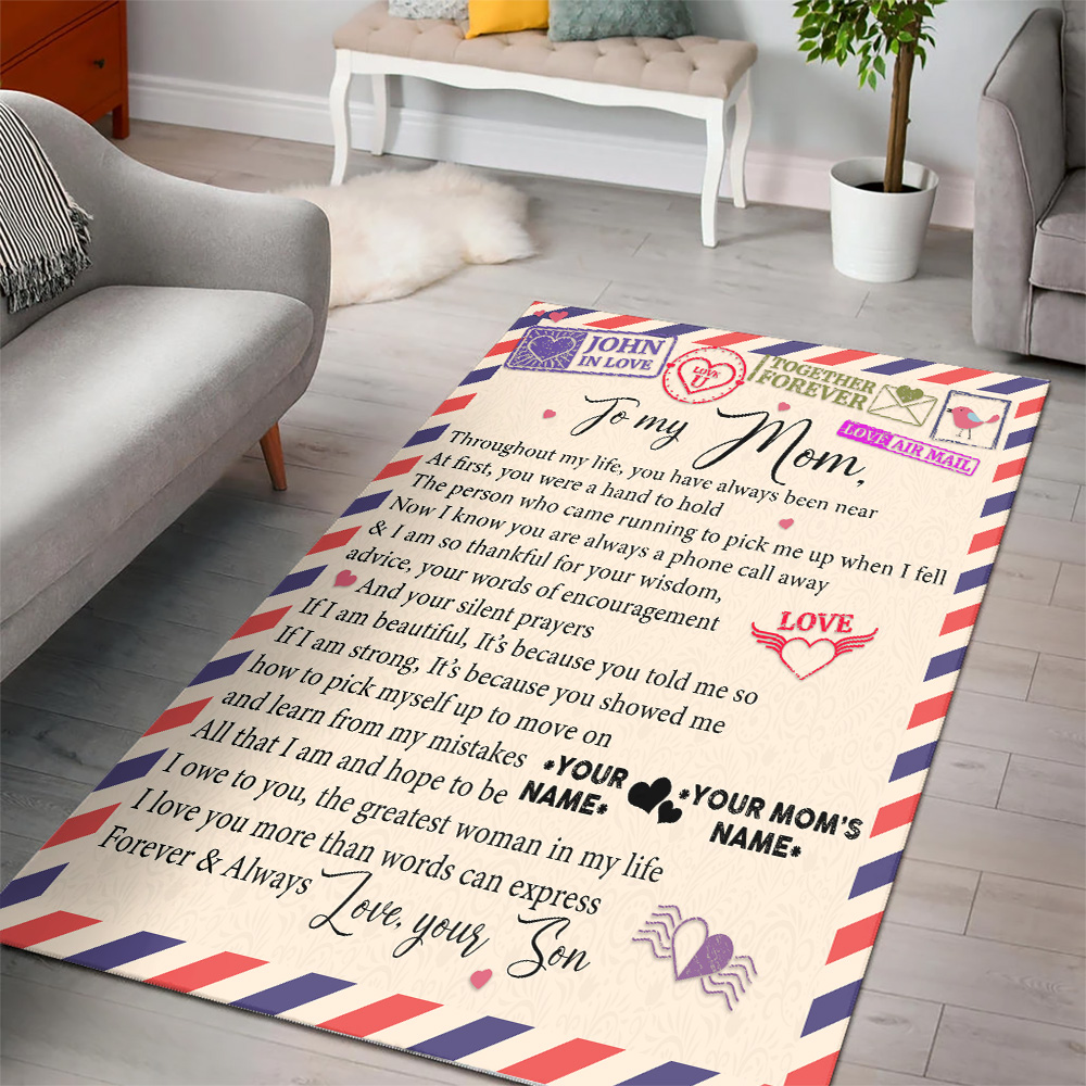 Personalized Lovely To My Mom I Owe To You The Greatest Woman In My Life Pattern 1 Vintage Area Rug Anti-Skid Floor Carpet For Living Room Dinning Room Bedroom Office
