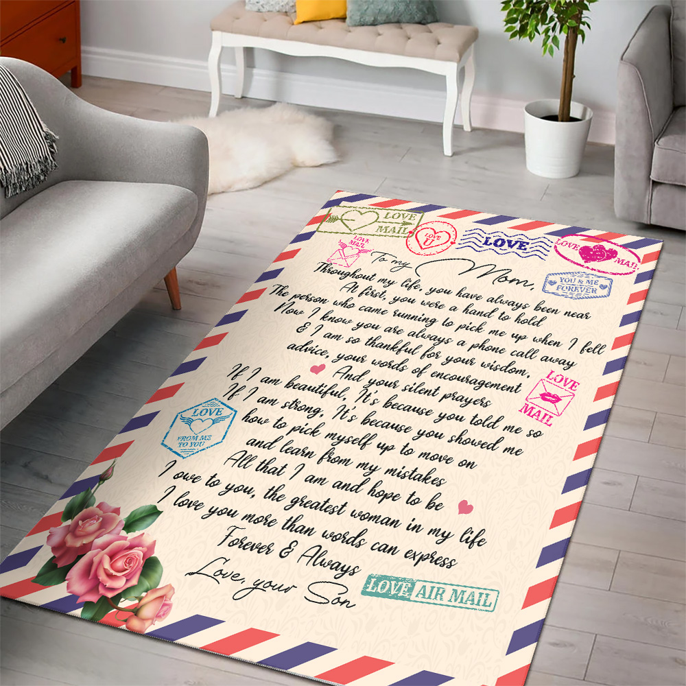 Personalized Lovely To My Mom I Owe To You The Greatest Woman In My Life Pattern 2 Vintage Area Rug Anti-Skid Floor Carpet For Living Room Dinning Room Bedroom Office