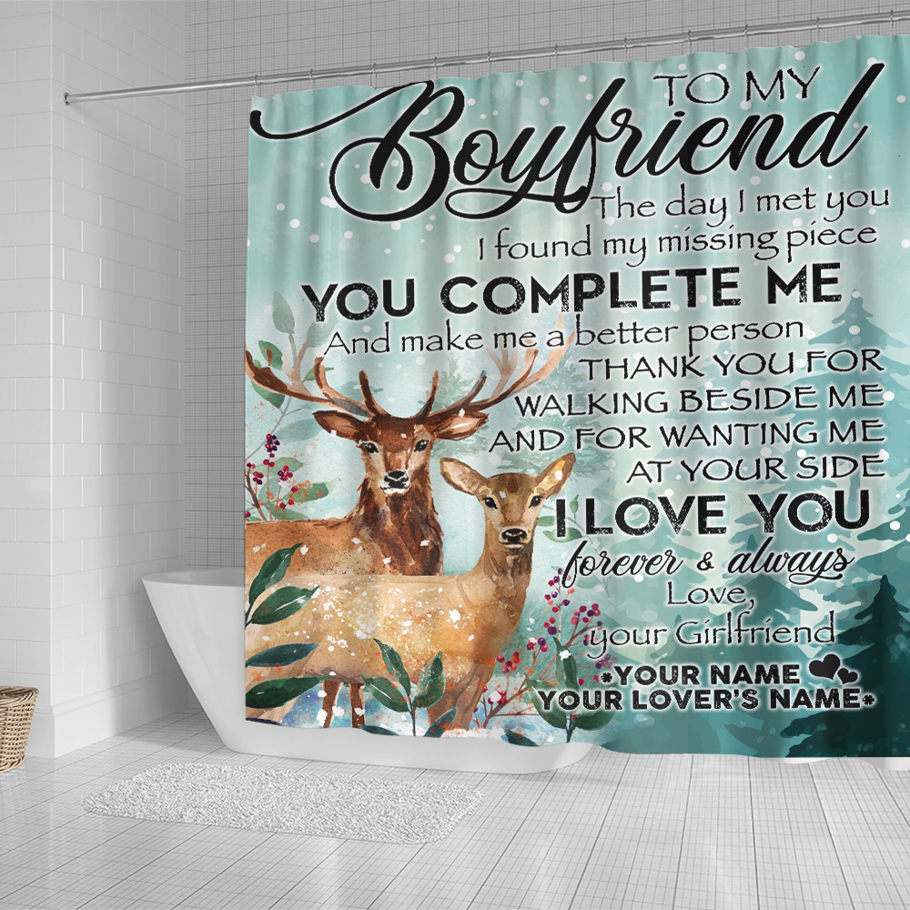 Personalized Lovely Shower Curtain To My Boyfriend I Love You Thank You For Walking Beside Me Pattern 1 Set 12 Hooks Decorative Bath Modern Bathroom Accessories Machine Washable
