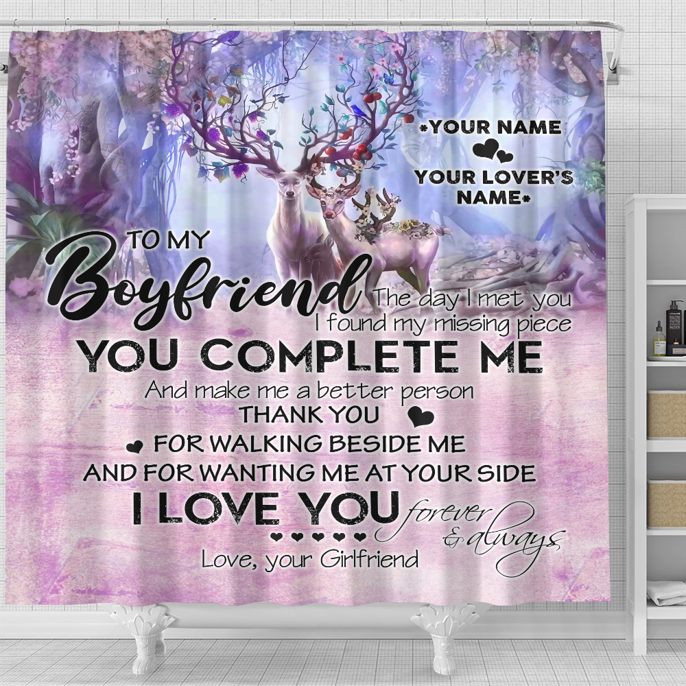 Personalized Lovely Shower Curtain  To My Boyfriend I Love You Thank You For Walking Beside Me Pattern 2 Set 12 Hooks Decorative Bath Modern Bathroom Accessories Machine Washable