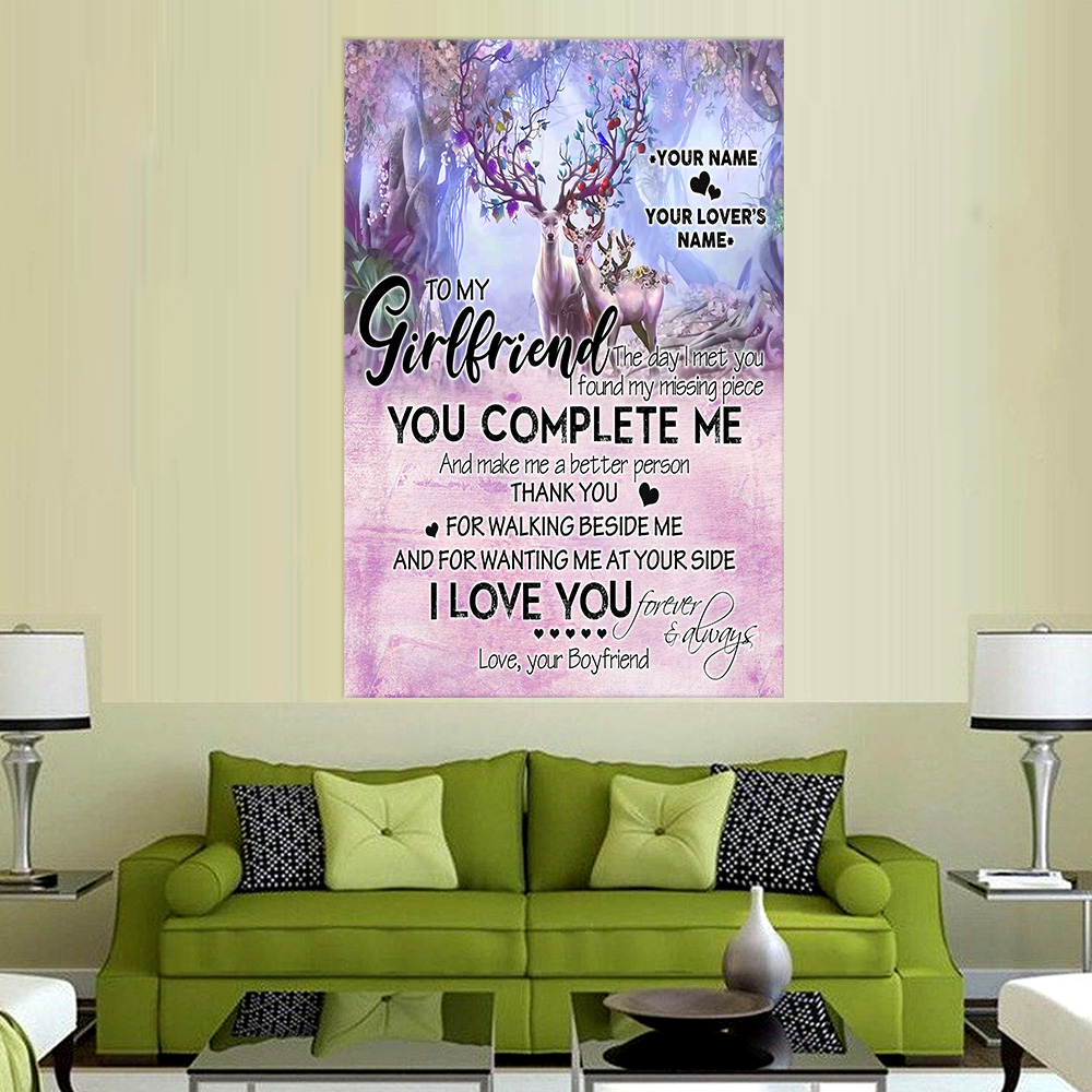 Personalized Lovely Wall Art Poster To My Girlfriend I Love You Thank You For Walking Beside Me Pattern 2 Prints Decoracion Wall Art Picture Living Room Wall