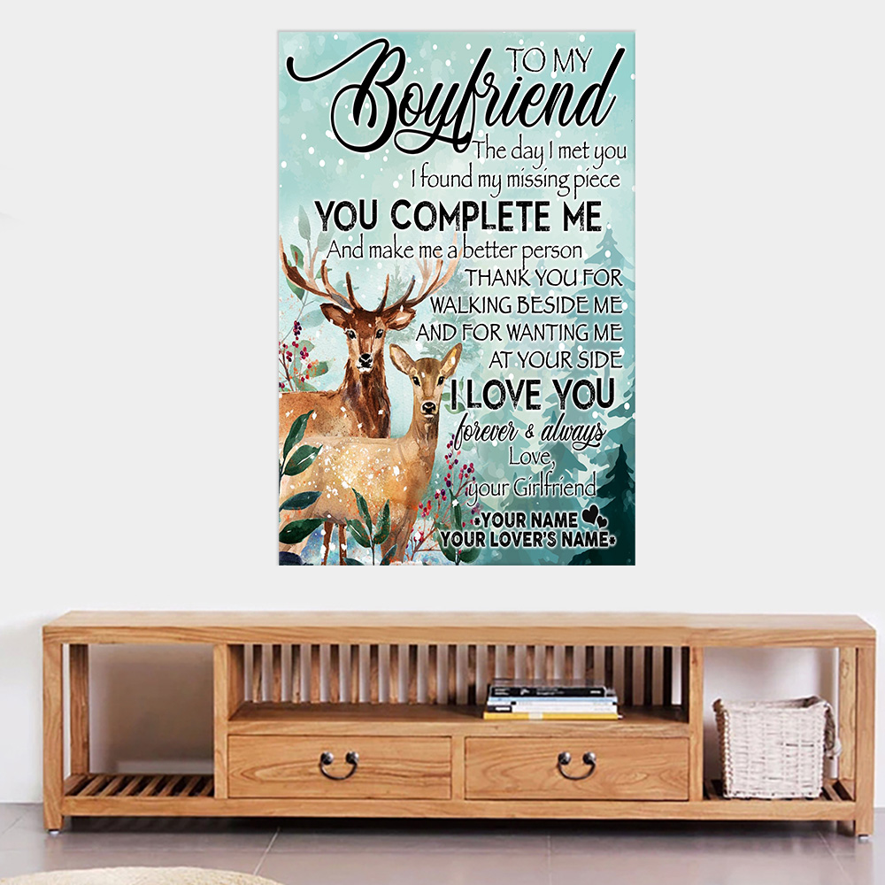 Personalized Lovely Wall Art Poster To My Boyfriend I Love You Thank You For Walking Beside Me Pattern 1 Prints Decoracion Wall Art Picture Living Room Wall