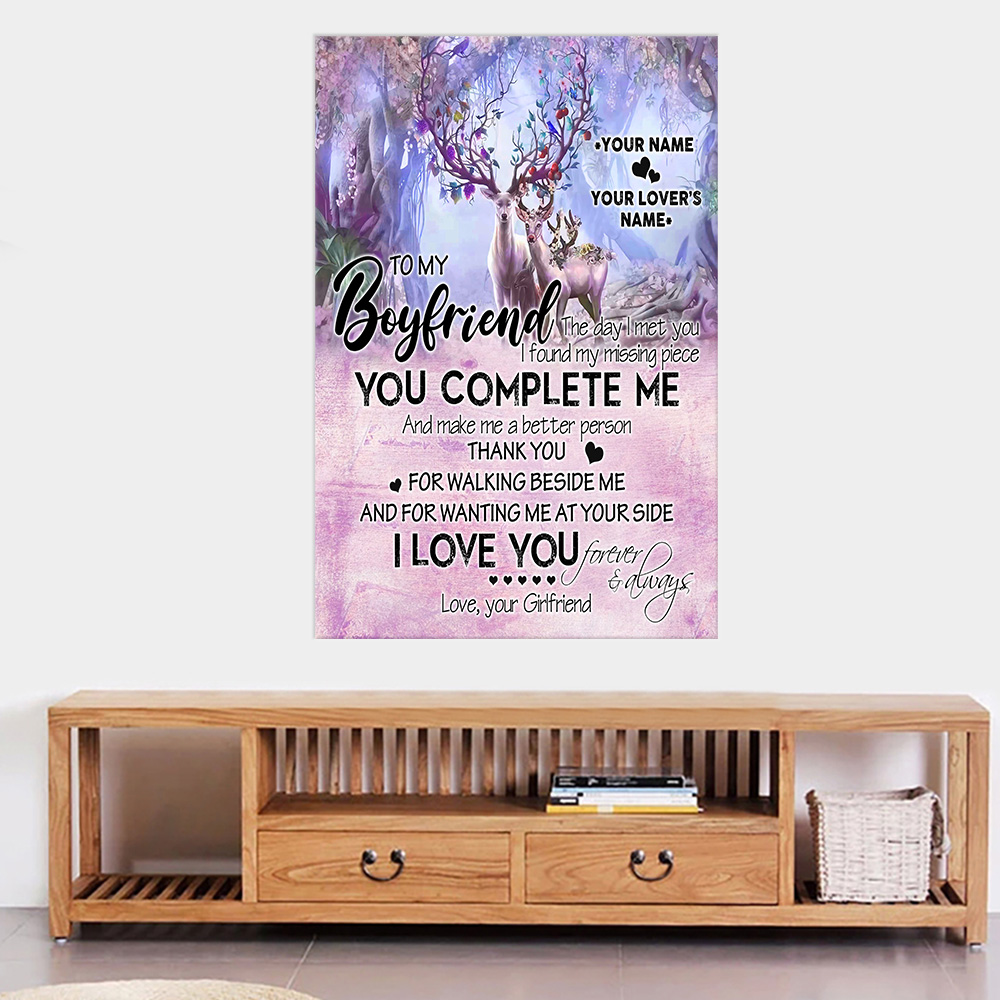 Personalized Lovely Wall Art Poster To My Boyfriend I Love You Thank You For Walking Beside Me Pattern 2 Prints Decoracion Wall Art Picture Living Room Wall