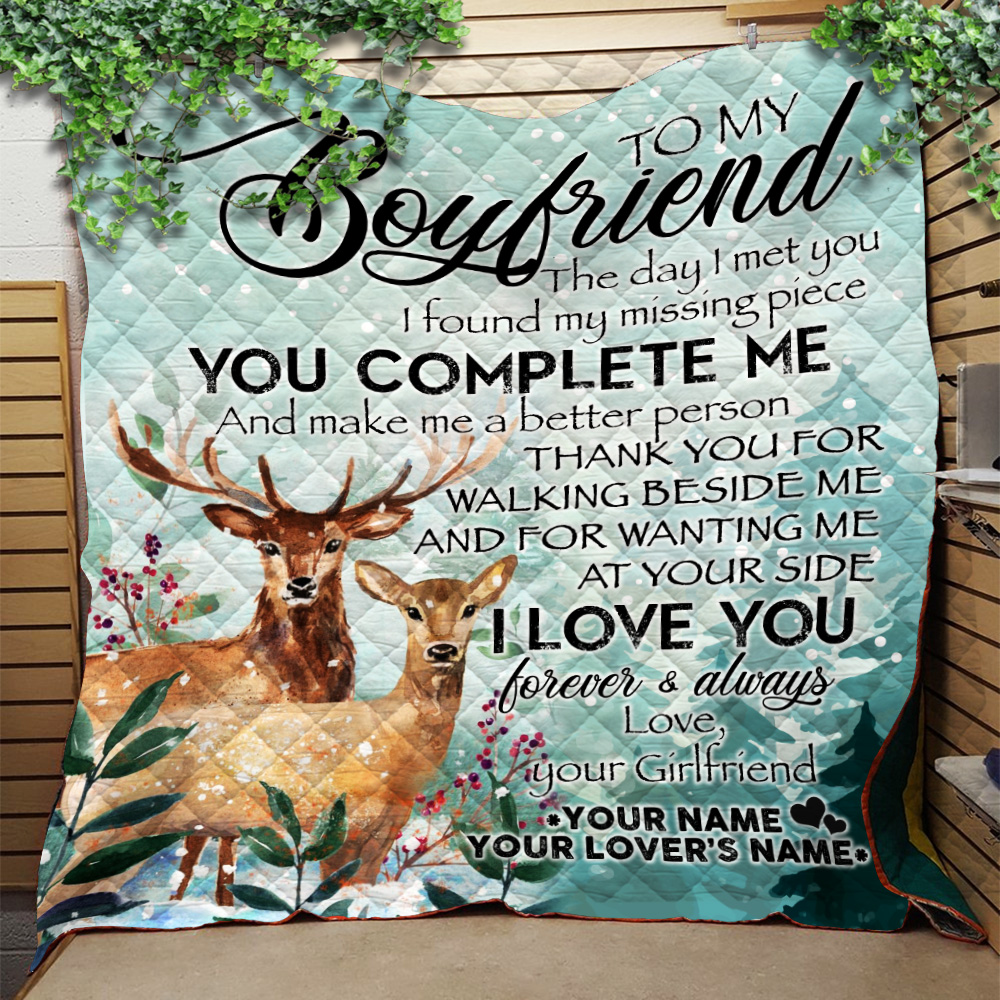 Personalized Lovely Quilt Throw Blanket To My Boyfriend I Love You Thank You For Walking Beside Me Pattern 1 Lightweight Super Soft Cozy For Decorative Couch Sofa Bed