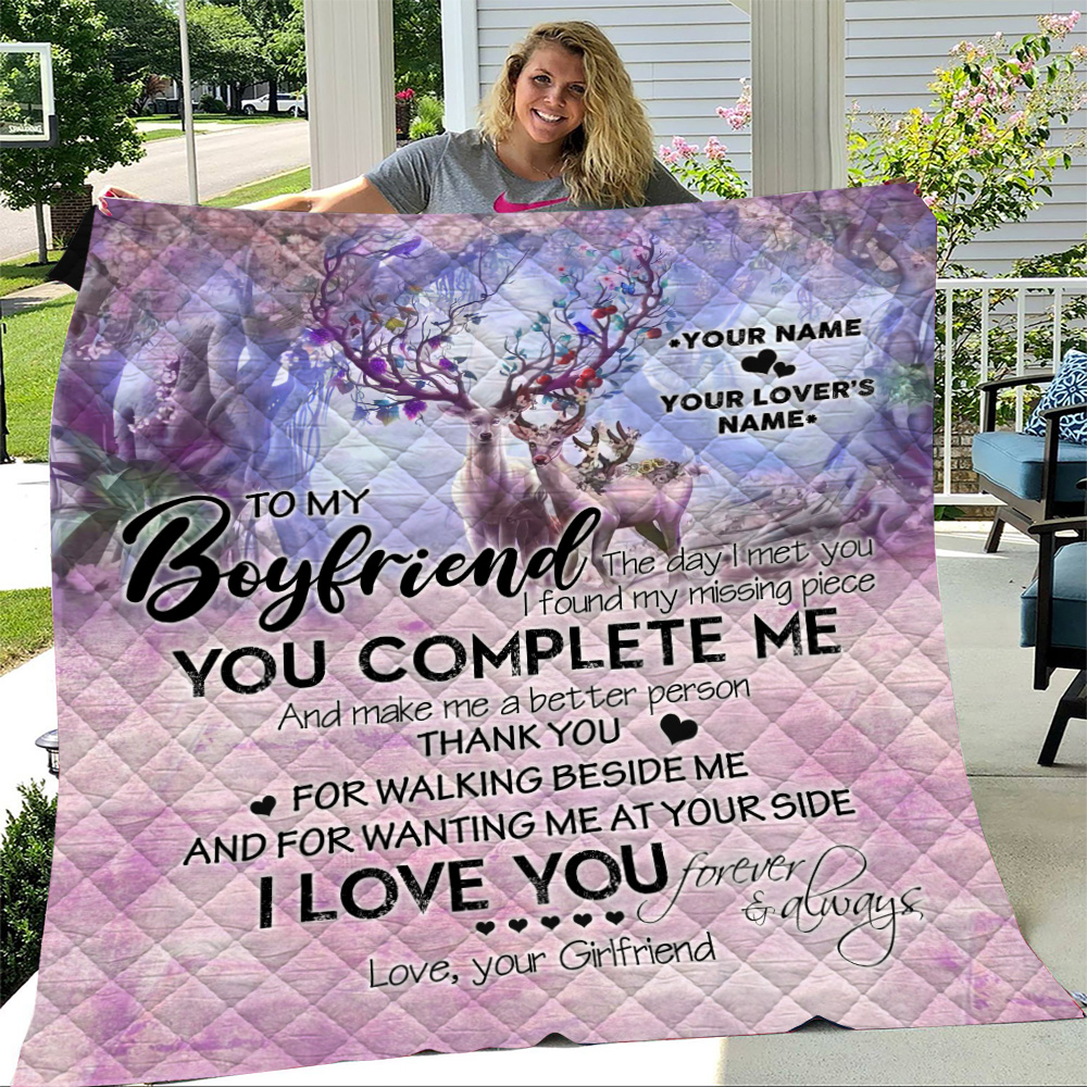 Personalized Lovely Quilt Throw Blanket To My Boyfriend I Love You Thank You For Walking Beside Me Pattern 2 Lightweight Super Soft Cozy For Decorative Couch Sofa Bed