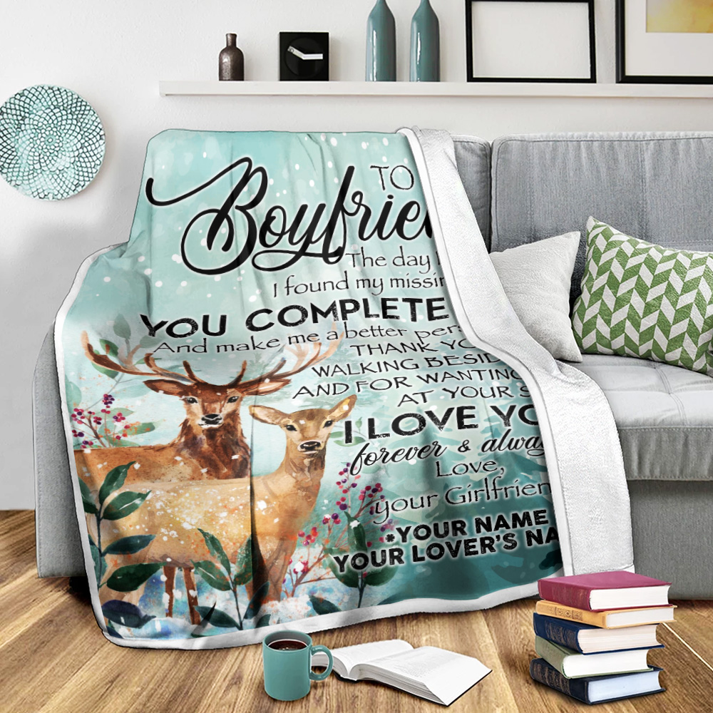 Personalized Lovely Fleece Throw Blanket To My Boyfriend I Love You Thank You For Walking Beside Me Pattern 1 Lightweight Super Soft Cozy For Decorative Couch Sofa Bed