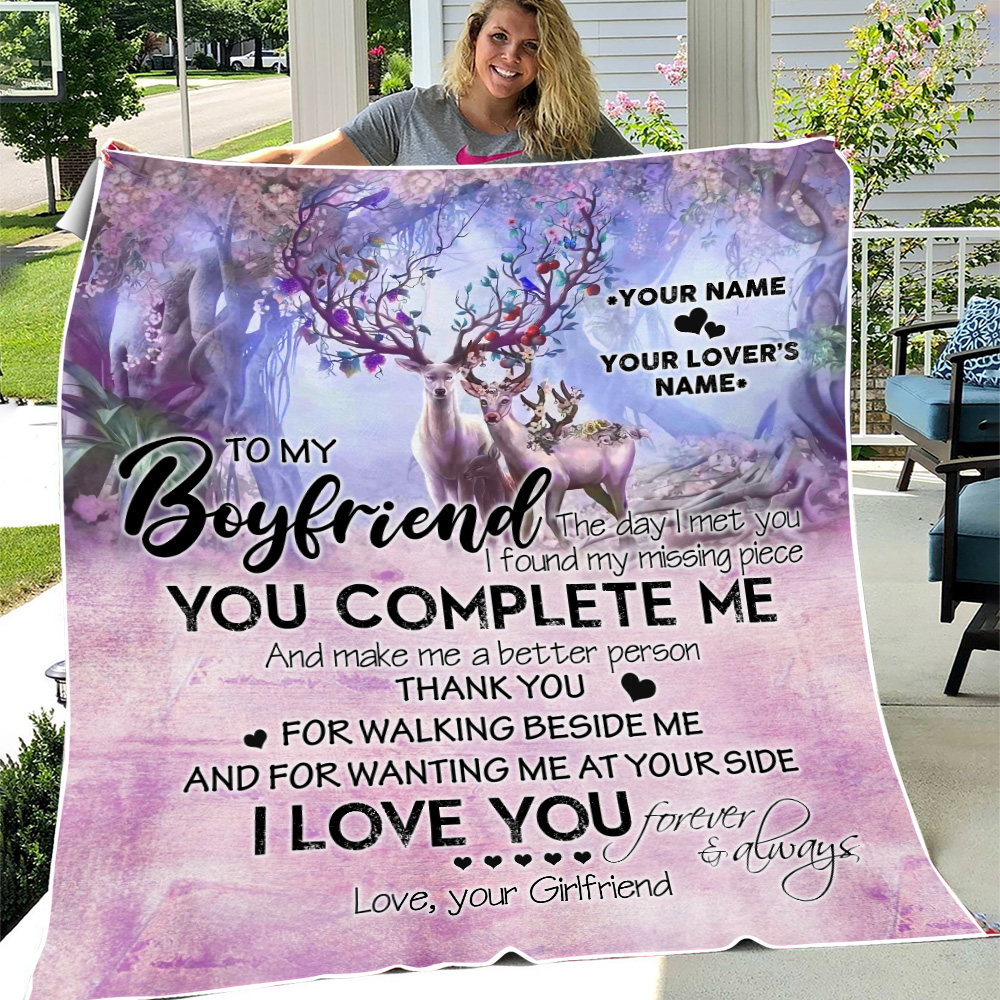 Personalized Lovely Fleece Throw Blanket To My Boyfriend I Love You Thank You For Walking Beside Me Pattern 2 Lightweight Super Soft Cozy For Decorative Couch Sofa Bed