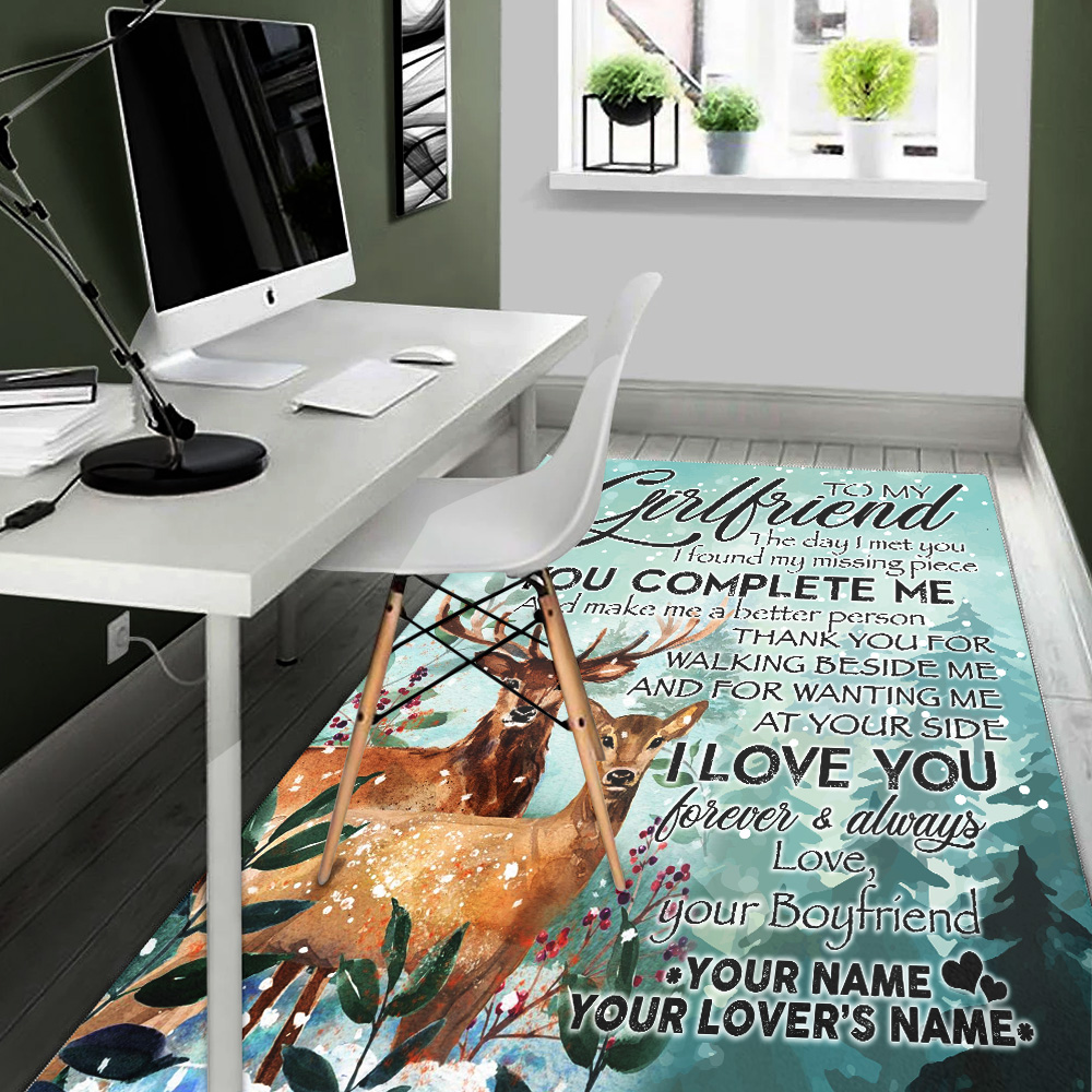 Personalized Lovely To My Girlfriend I Love You Thank You For Walking Beside Me Pattern 1 Vintage Area Rug Anti-Skid Floor Carpet For Living Room Dinning Room Bedroom Office