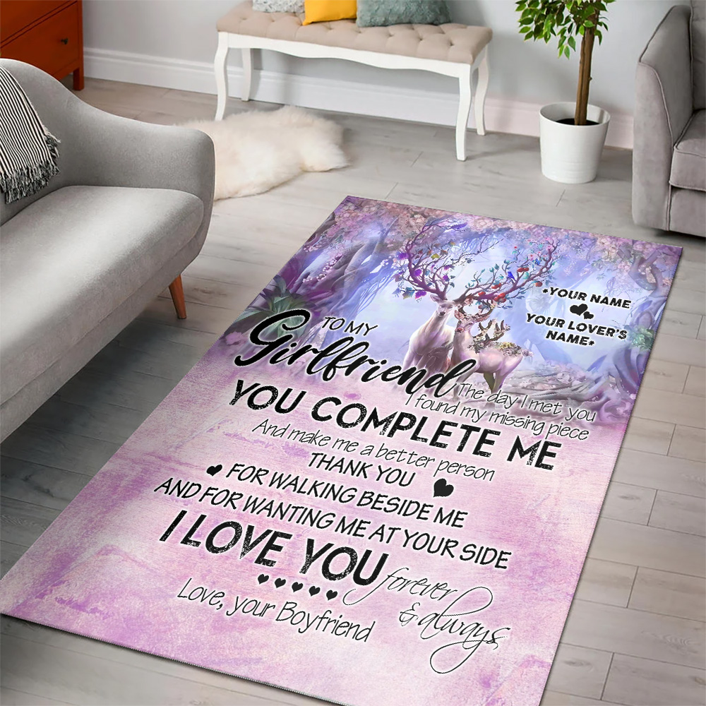 Personalized Lovely To My Girlfriend I Love You Thank You For Walking Beside Me Pattern 2 Vintage Area Rug Anti-Skid Floor Carpet For Living Room Dinning Room Bedroom Office