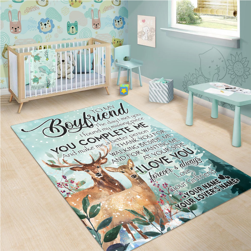Personalized Lovely To My Boyfriend I Love You Thank You For Walking Beside Me Pattern 1 Vintage Area Rug Anti-Skid Floor Carpet For Living Room Dinning Room Bedroom Office