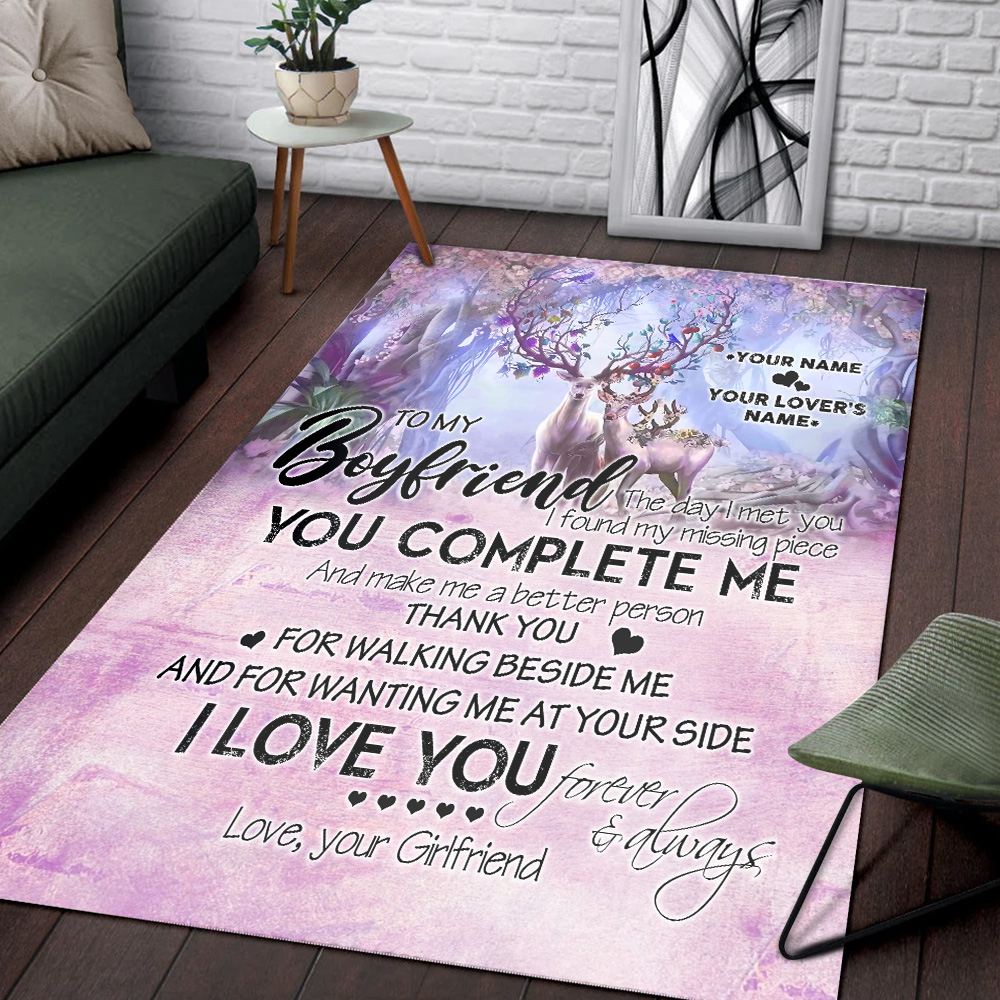 Personalized Lovely To My Boyfriend I Love You Thank You For Walking Beside Me Pattern 2 Vintage Area Rug Anti-Skid Floor Carpet For Living Room Dinning Room Bedroom Office