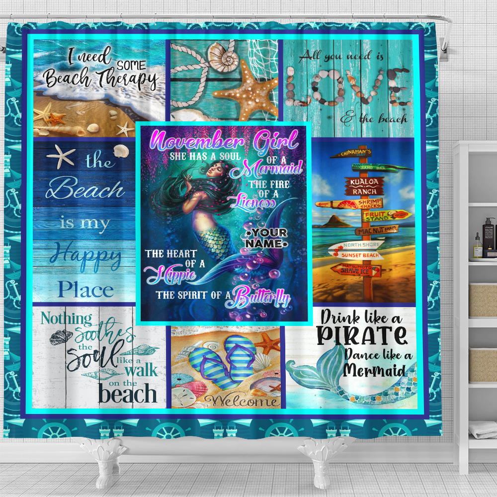 Personalized Shower Curtain November Girl A Soul Of A Mermaid Pattern 1 Set 12 Hooks Decorative Bath Modern Bathroom Accessories Machine Washable