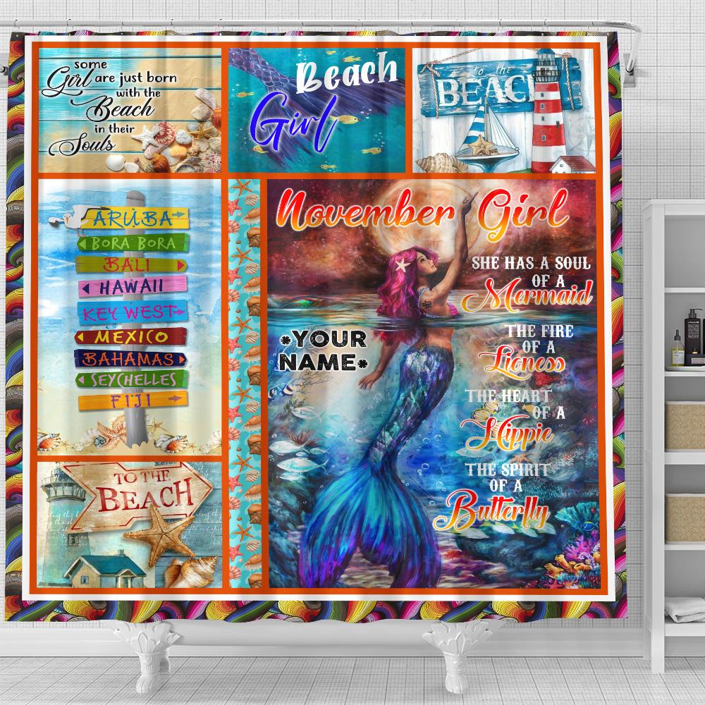 Personalized Shower Curtain November Girl A Soul Of A Mermaid Pattern 2 Set 12 Hooks Decorative Bath Modern Bathroom Accessories Machine Washable