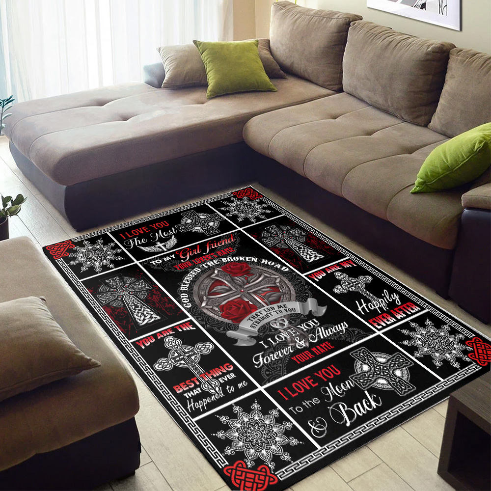 Personalized Lovely To My Girlfriend I Love You The Most Pattern 1 Vintage Area Rug Anti-Skid Floor Carpet For Living Room Dinning Room Bedroom Office