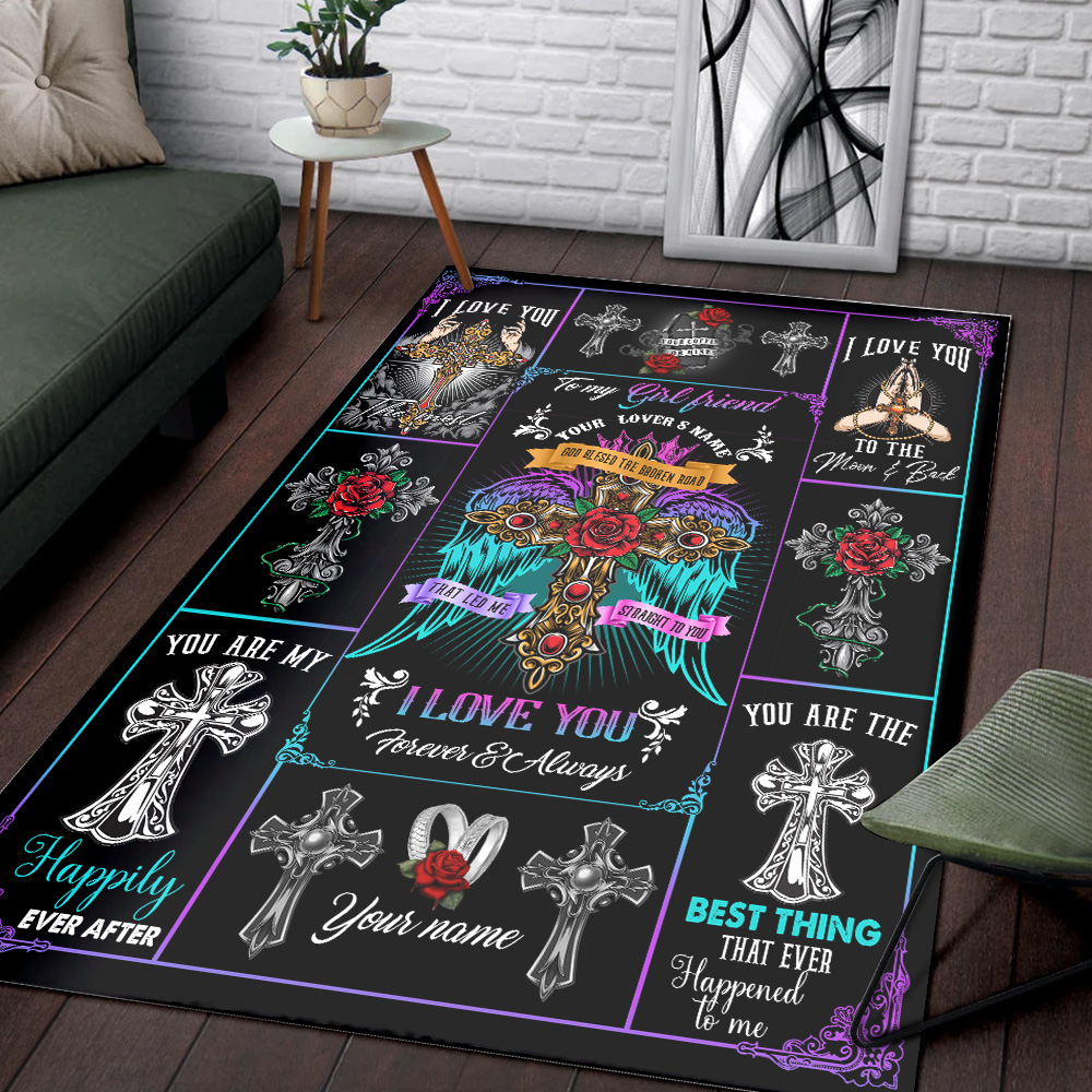 Personalized Lovely To My Girlfriend I Love You The Most Pattern 2 Vintage Area Rug Anti-Skid Floor Carpet For Living Room Dinning Room Bedroom Office