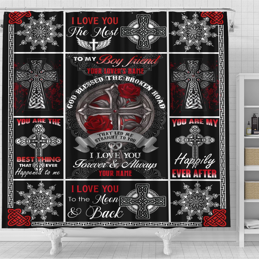 Personalized Lovely Shower Curtain To My Boyfriend I Love You The Most Pattern 1 Set 12 Hooks Decorative Bath Modern Bathroom Accessories Machine Washable