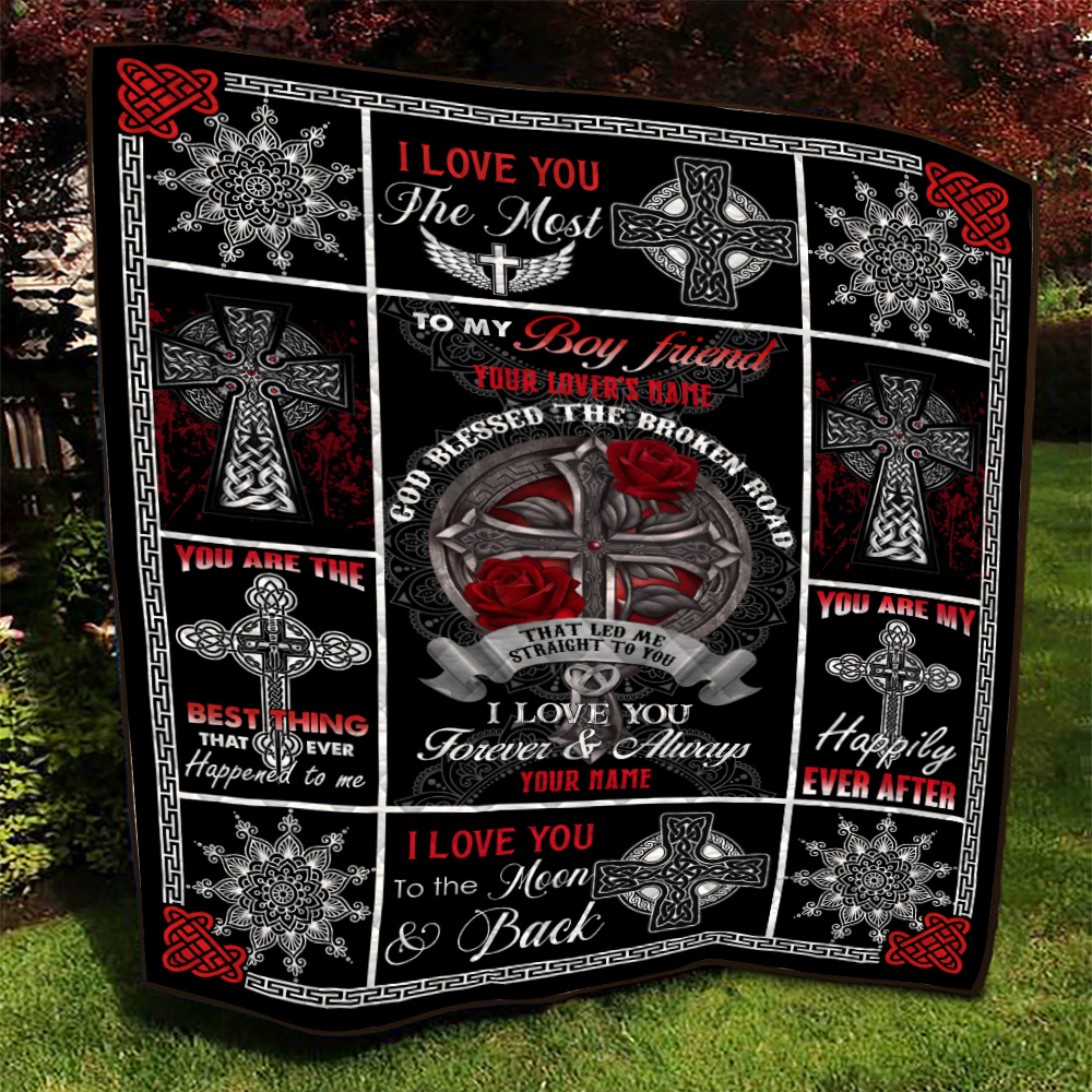 Personalized Lovely Quilt Throw Blanket To My Boyfriend I Love You The Most Pattern 1 Lightweight Super Soft Cozy For Decorative Couch Sofa Bed
