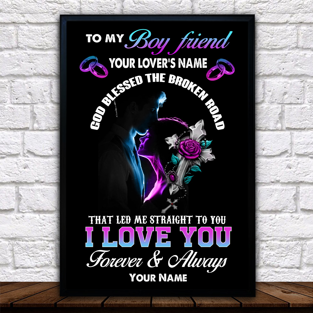 Personalized Lovely Wall Art Poster To My Boyfriend I Love You The Most Pattern 2 Prints Decoracion Wall Art Picture Living Room Wall